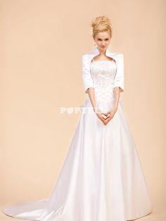 #robe #mariée Robe de mariage trapèze bien brodée de bretelles fines