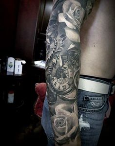 Cool Grey Tattoo Of Roses And Roman Numeral Clock Mens Full Sleeves