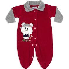 Macacão Longo em Plush Masculino para Bebê Vermelho - Travessus :: 764 Kids | Roupa bebê e infantil
