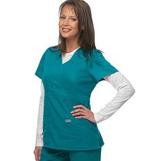 Mock wrap solid scrub top. With 24 colors to choose from, there is something for everyone! #scrubs #greysanatomy #allheart