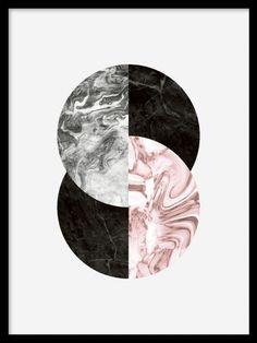 grafiske plakater med sirkler og figurer