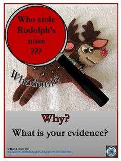 Who Stole Rudolph's Nose? Christmas Activities For School, Christmas Math, Christmas Words, Critical Thinking Activities, Critical Thinking Skills, Fun Activities, Holiday Themes, Christmas Themes, Relief Teacher