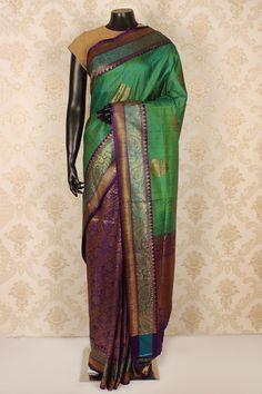 #Purple & antique #gold pure #banarasi silk mesmeric #saree with zari weaved #pallu -SR15413