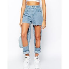 The Ragged Priest Bareskin Extreme Distress Mom Jeans ($69) ❤ liked on Polyvore featuring jeans, pants, bottoms, blue, torn jeans, high waisted jeans, destroyed jeans, blue ripped jeans and distressed jeans