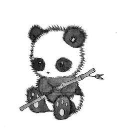 Panda holding a bamboo stick drawing