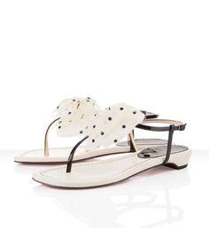 Christian Louboutin Vaudou Ivory Women Flat Sandals