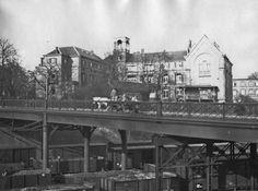 De Diaconessenbrug in 1914, gefotografeerd vanaf de zuidzijde, met op de achtergrond het oude Diaconessenhuis aan de Bovenbrugstraat