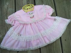 Pink Lacy and Ruffly Vintage Baby Dress by EmelinesVintageFair