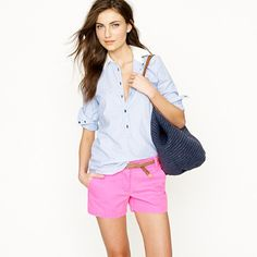 neon pink j crew shorts - bought these yesterday!