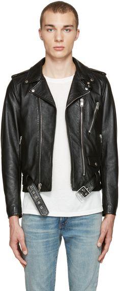 SAINT LAURENT Black Lambskin Biker Jacket. #saintlaurent #cloth #jacket