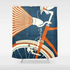 Buy Shower Curtains featuring Bicycle Light by Fernando Vieira. Made from 100% easy care polyester our designer shower curtains are printed in the USA and feature a 12 button-hole top for simple hanging.