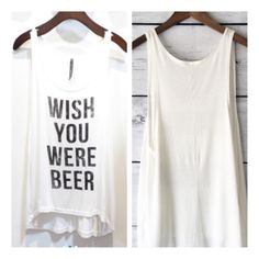 • Beer Tank • Adorable white graphic tank. Super comfy and stretchy, light and loose. Recommend going with your normal size.    95% rayon, 5% spandex   No trades. Price firm. PLEASE DO NOT purchase this listing. Comment below what size you need and I'll make you a listing Jennifer's Chic Boutique Tops Tank Tops