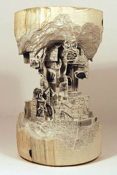 Carved from a book!?  -Incredible art painstakingly crafted from old books by Brian Dettmer, aka the Book Surgeon.