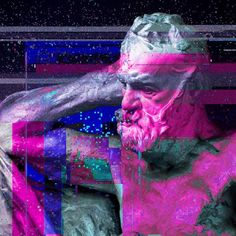 James Usill (@jamesusill)   Victor Hugo (after Rodin), 2017 #vaporwave #victorhugo #rodin #portrait #glitch #databending #art