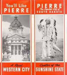 Pierre South Dakota Vintage 1930s 1940's Foldout Brochure Photos Map | eBay