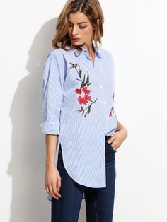Blue Stripe Embroidery High Low Split Side Blouse