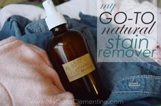 Natural Laundry Stain Remover recipe using hydrogen peroxide, castile soap, and essential oils. Works best on general stains of all homemade spot treatments I have tried. Non-toxic and easy to make. By My Darla Clementine