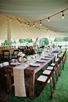 Have you been tasked with planning an outdoor wedding? Wedding tent is a common type of organization of the outdoor wedding space. Tent Wedding, Budget Wedding, Rustic Wedding, Dream Wedding, Wedding Ideas, Diy Wedding Tables, Wedding Tent Lighting, Farm Table Wedding, Wedding Reception