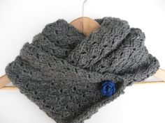 Grey Long Lace Scarf with Electric Blue Flower Brooch by matemo, €20.00