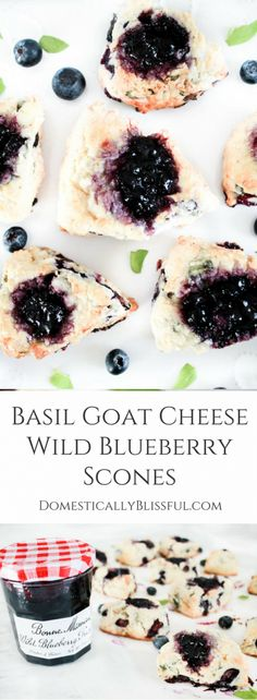 Basil Goat Cheese Wild Blueberry Scones are filled with a unique combination of flavors that are sure to please your tastebuds, along with your family & friends! | #Sponsored #BonneMaman #SayItWithHomemade @Bonne Maman Preserves | wild blueberry scones | goat cheese scones | basil scones | brunch scones | breakfast scones | savory scones | mother's day brunch | mini scones |