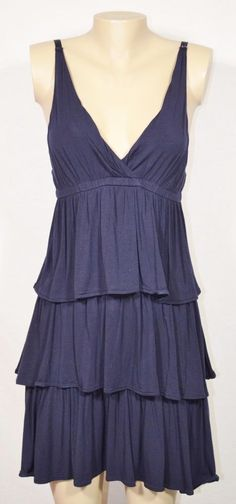 J CREW Navy Blue Stretch Jersey Tiered Sleeveless Dress Medium Elastic Waist #JCrew #Tiered #Casual