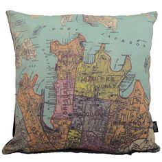 Antipodean Love — Old Sydney Map Cushion