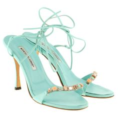 Pre-owned Sandals turquoise (1.330 RON) ❤ liked on Polyvore featuring shoes, sandals, heels, turquoise, manolo blahnik shoes, strappy heel sandals, turquoise shoes, narrow shoes and manolo blahnik sandals
