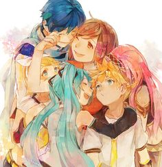 <3 Vocaloid Miku Hatsune, Megurine Luka, Twins Kagamine Rin and Len, Kaito Shion and Sakine Meiko