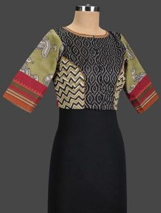 Black-Green Embroidered Cotton Blouse
