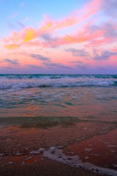 Ahhh, the sweet colours of Mother nature! Gorgeous pink, blue, and orange beach sky.