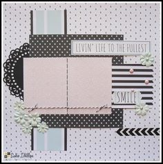 Smile layout created with the DCWV Minty Lace Stack.