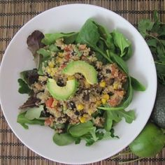 southwestern quinoa salad w/ lime cilantro vinaigrette-take out the olive oil and this will fit into my whole foods, plant based diet!