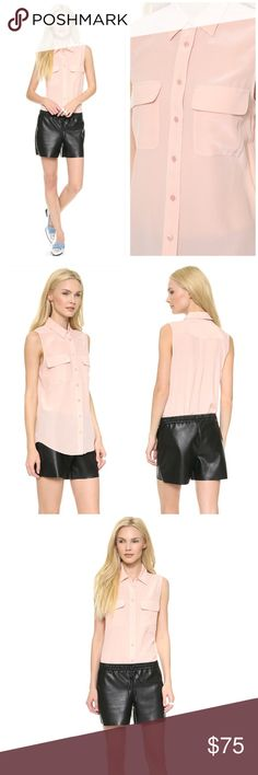 """Equipment Sleeveless Slim Signature Pink Blouse Excellent condition, small signs of wear. Approx 26"""" length. Size S- 4/6. Silk crepe fabric. Signature flag breast pockets. The buttones placket extends to the slightly rounded hem. Offers welcome through offer tab. No trades. Equipment Tops Blouses"""