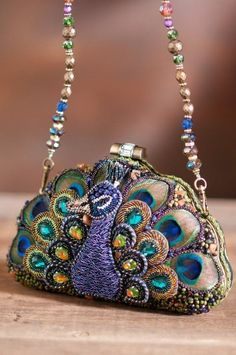 Mary Frances peacock purse-Love the bag! Peacock WEdding