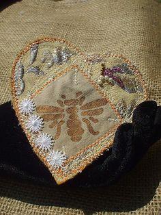 Gold Heart Brooch   September Song   Folk Art Textile by Shalotte, £10.00