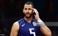 Osmany Juantorena #5 of Italy looks on against Iran during the Men's Quarterfinal Volleyball match on Day 12 of the Rio 2016 Olympic Games at Maracanazinho on August 17, 2016 in Rio de Janeiro, Brazil.