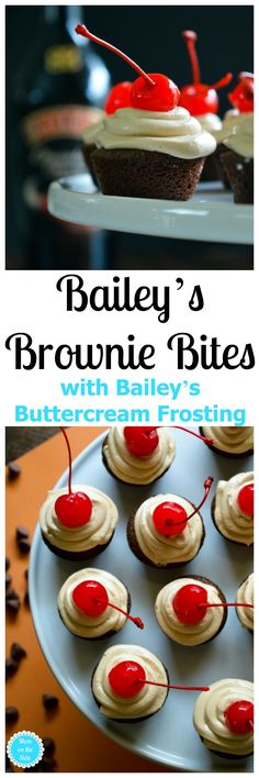 Looking for a decadent adult dessert? You've come to the right place! Bailey's Brownie Bites with Bailey's Buttercream Frosting on Mom on the Side. Best Dessert Recipes, Cupcake Recipes, Easy Desserts, Sweet Recipes, Delicious Desserts, Cupcake Cakes, Bailey Brownies, Desserts With Few Ingredients, Brownie Bites
