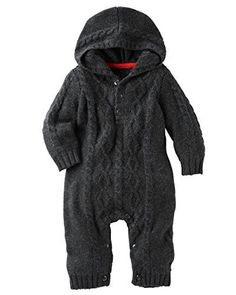 OshKosh Bgosh Baby Boys Hooded Cable Knit Coverall Charcoal 24 Months ** You can find more details by visiting the image link. (This is an affiliate link)