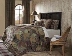 """Jackson Queen Quilt by VHC Brands - This Jackson patchwork quilt features a tumbling block pattern in tan, green and burgundy. It  measures 94""""x94"""" , has 100% cotton shell and fill and stitch in the  ditch quilting."""