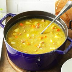 Split Pea Soup with Ham Recipe -For a different spin on split pea soup, try this recipe. The flavor is peppery rather than smoky. —Barbara Link, Rancho Cucamonga, California