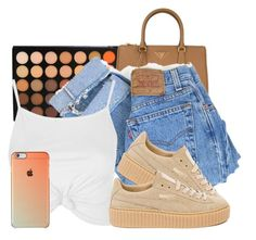 """""""Baby."""" by imwhit ❤ liked on Polyvore featuring Morphe, Prada, Levi's, Topshop and Puma"""