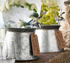 This Pottery Barn dispenser stand can also be flipped upside down to use the divided compartments for napkins and silverware. Check out the option to monogram too!