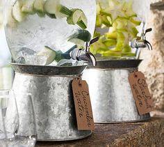 Galvanized Metal Drink Dispenser Stand #potterybarn