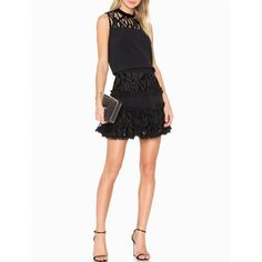 --evaChic--This Alexis Sterling Velvet Lace Ruffle Dress from the Holiday 2016 collection features rich velvet openwork in the form of retro lace that makes for a regal look. The fit & flare silhouette and sleeveless paneled bodice are ultra-flattering. It works as a timeless cocktail dress and essential eveningwear.             http://www.evachic.com/product/alexis-sterning-velvet-lace-ruffle-dress/