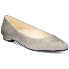 Nine West Onlee Pointed-Toe Flats ($69) ❤ liked on Polyvore featuring shoes, flats, pewter metallic, flat heel shoes, flat pump shoes, nine west shoes, nine west and flat pointed-toe shoes