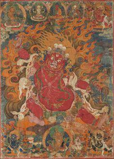 Tibetan Buddhist Thangka of Guru Dragpo, Tibet, ca. 17th/18th century.