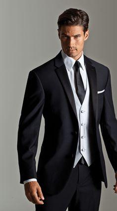 Luxury wool 2 button Black Silver Bradbury vest and black skinny tie.