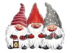 - Three happy and bearded gnomes. -- All images (C) Copyright Åsa Gustafsson Christmas Rock, Christmas Gnome, Christmas Pictures, All Things Christmas, Winter Christmas, Vintage Christmas, Christmas Crafts, Merry Christmas, Christmas Decorations