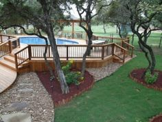 Another above ground pool ideas with landscaping area