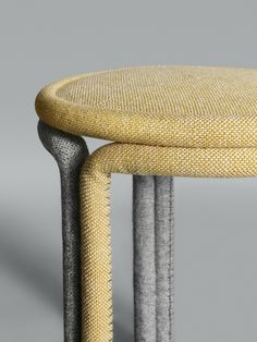 Typically, fabric is used in furniture for its aesthetics to cover a seat cushion or arm rest, but Philippe Malouin used tight rolls of Hallingdal 65 as a structural element in his Hardie Stools.